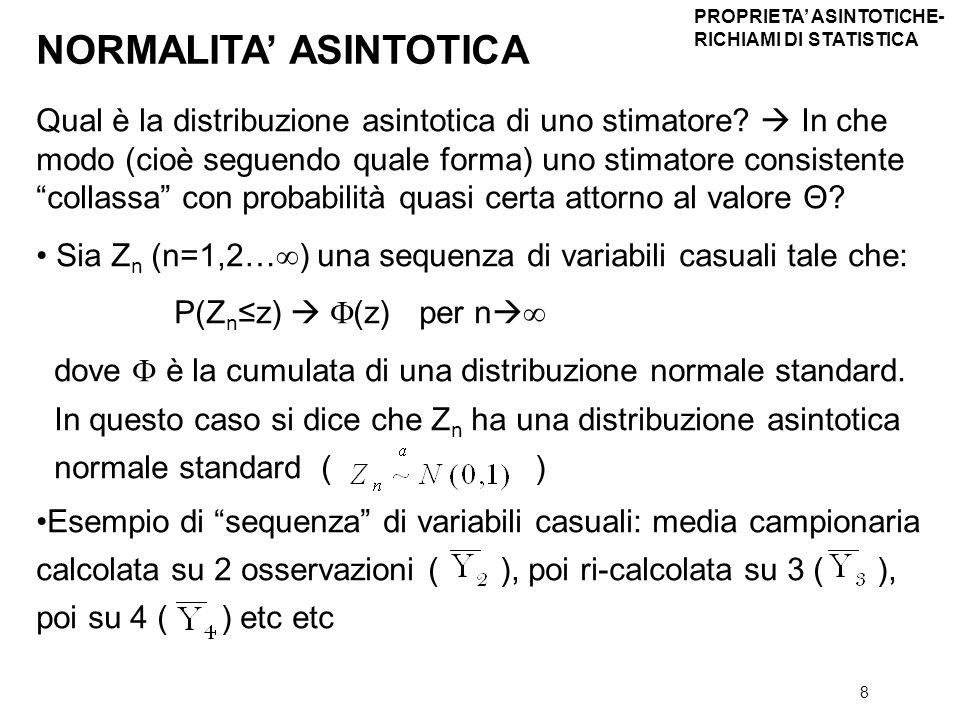 8 Qual è la distribuzione asintotica di uno stimatore? In che modo (cioè seguendo quale forma) uno stimatore consistente collassa con probabilità quas