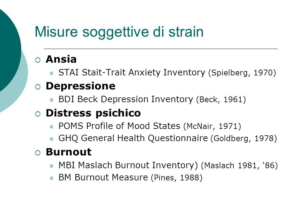 Misure soggettive di strain Ansia STAI Stait-Trait Anxiety Inventory (Spielberg, 1970) Depressione BDI Beck Depression Inventory (Beck, 1961) Distress