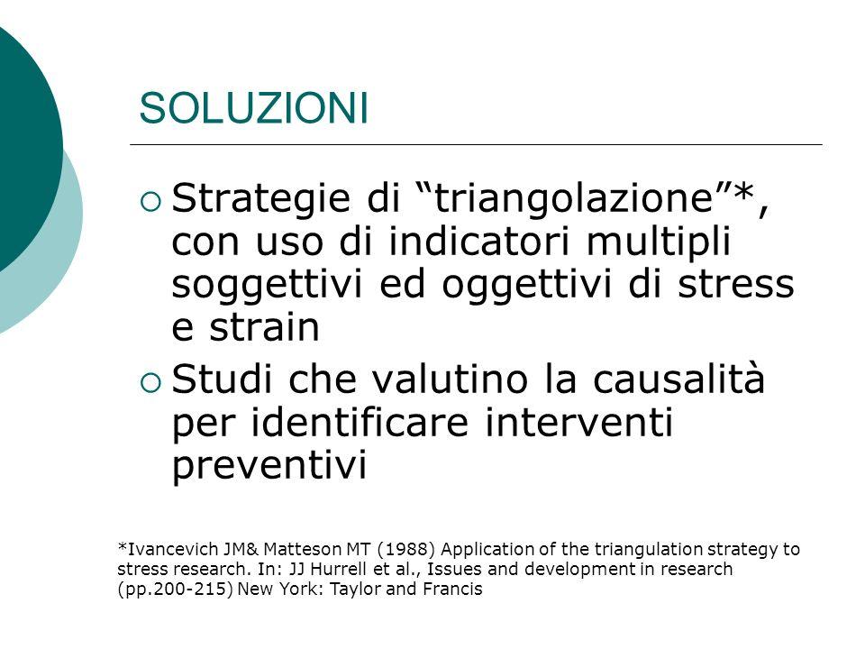 SOLUZIONI Strategie di triangolazione*, con uso di indicatori multipli soggettivi ed oggettivi di stress e strain Studi che valutino la causalità per