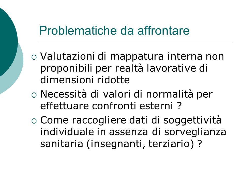 Problematiche da affrontare Valutazioni di mappatura interna non proponibili per realtà lavorative di dimensioni ridotte Necessità di valori di normal