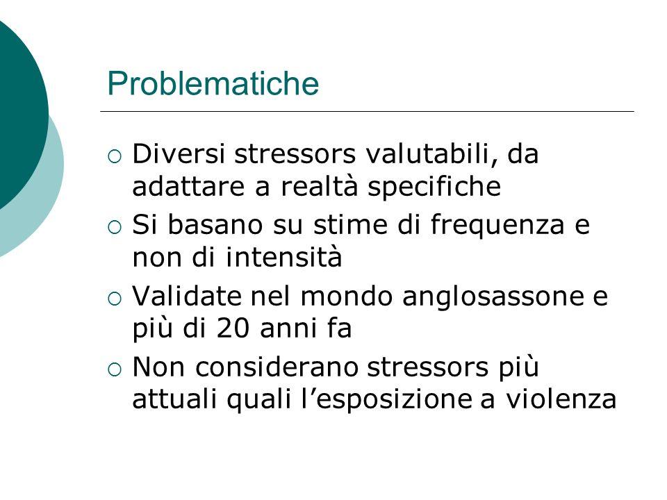 Problematiche Diversi stressors valutabili, da adattare a realtà specifiche Si basano su stime di frequenza e non di intensità Validate nel mondo angl