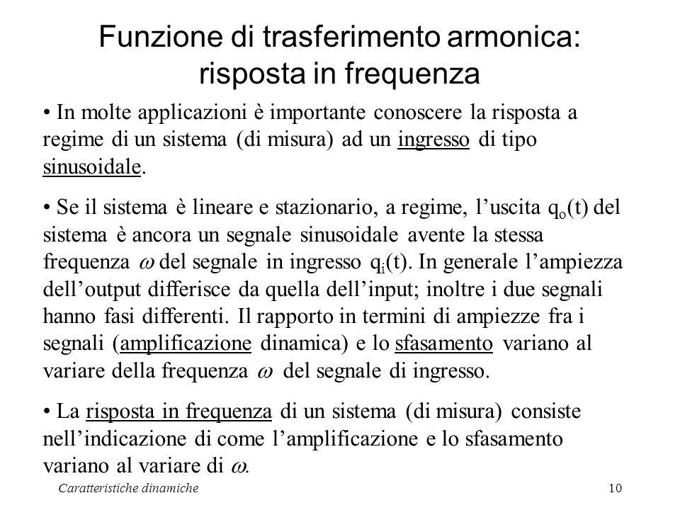Caratteristiche dinamiche10 Funzione di trasferimento armonica: risposta in frequenza In molte applicazioni è importante conoscere la risposta a regime di un sistema (di misura) ad un ingresso di tipo sinusoidale.