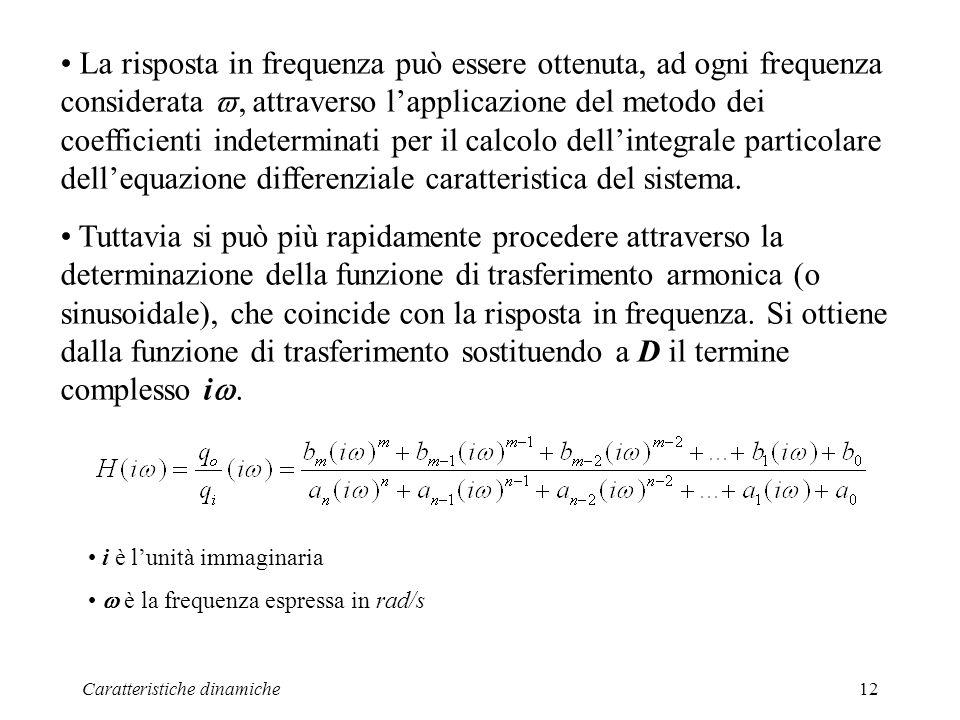 Caratteristiche dinamiche12 La risposta in frequenza può essere ottenuta, ad ogni frequenza considerata, attraverso lapplicazione del metodo dei coefficienti indeterminati per il calcolo dellintegrale particolare dellequazione differenziale caratteristica del sistema.