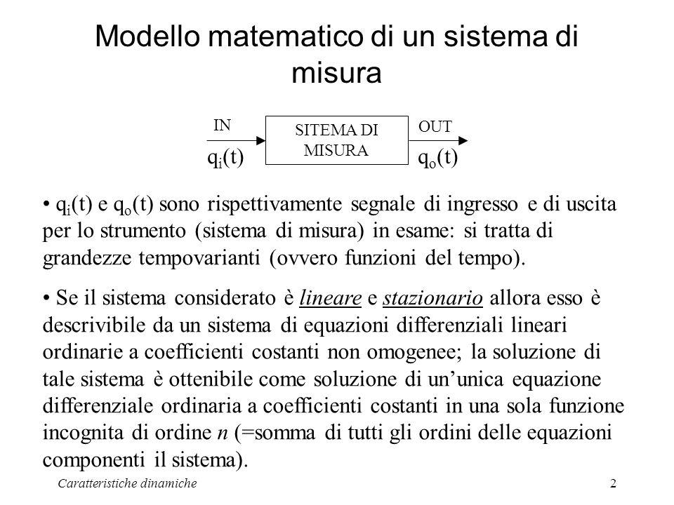 Caratteristiche dinamiche2 Modello matematico di un sistema di misura SITEMA DI MISURA IN OUT q i (t)q o (t) q i (t) e q o (t) sono rispettivamente segnale di ingresso e di uscita per lo strumento (sistema di misura) in esame: si tratta di grandezze tempovarianti (ovvero funzioni del tempo).