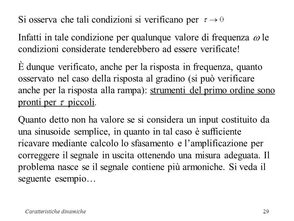 Caratteristiche dinamiche29 Si osserva che tali condizioni si verificano per Infatti in tale condizione per qualunque valore di frequenza le condizioni considerate tenderebbero ad essere verificate.