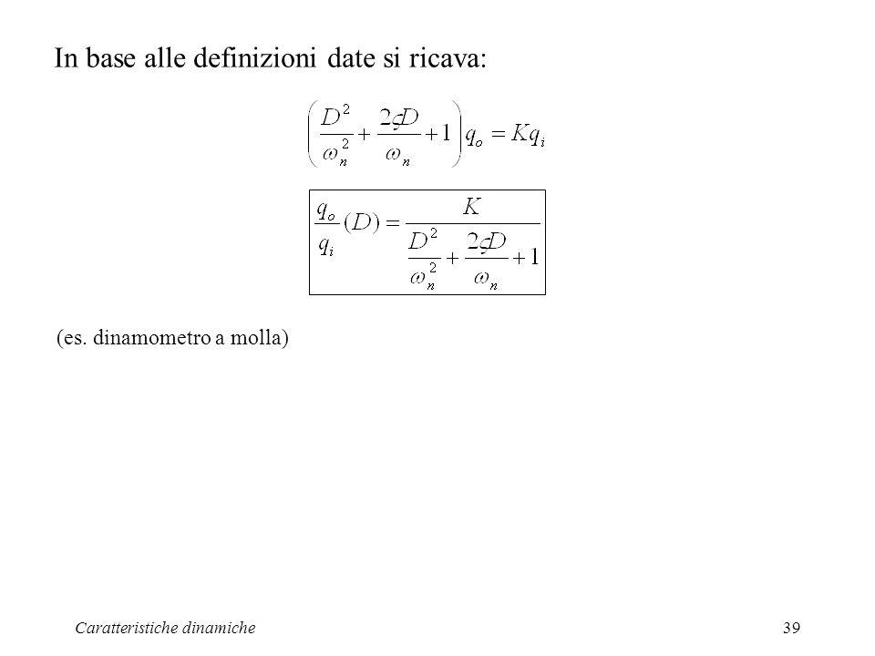 Caratteristiche dinamiche39 In base alle definizioni date si ricava: (es. dinamometro a molla)