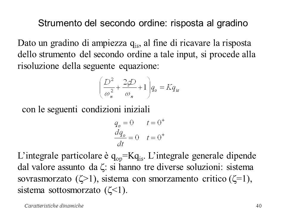 Caratteristiche dinamiche40 Strumento del secondo ordine: risposta al gradino Dato un gradino di ampiezza q is, al fine di ricavare la risposta dello
