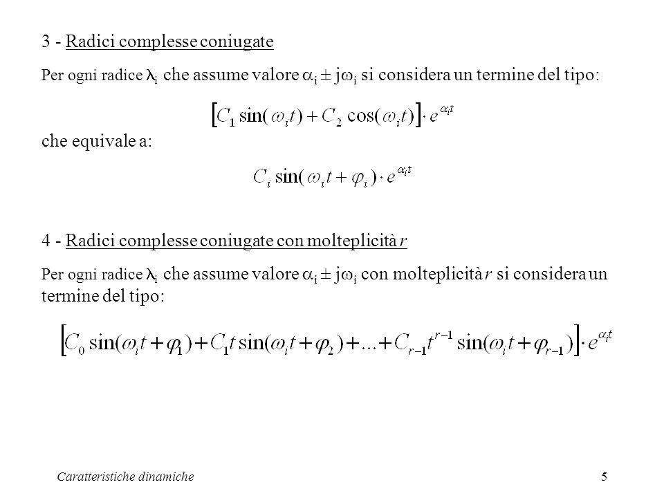 Caratteristiche dinamiche5 3 - Radici complesse coniugate Per ogni radice i che assume valore i ± j i si considera un termine del tipo: che equivale a: 4 - Radici complesse coniugate con molteplicità r Per ogni radice i che assume valore i ± j i con molteplicità r si considera un termine del tipo: