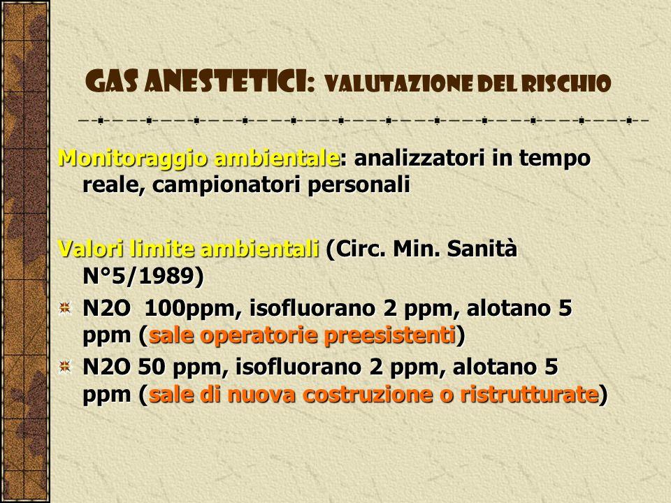 Gas anestetici: valutazione del rischio Monitoraggio biologico: dosaggio dei gas come tali o loro metaboliti nelle matrici biologiche: N2O N2O urinario Alotano ac.