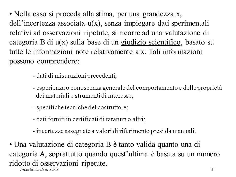 Incertezza di misura14 Nella caso si proceda alla stima, per una grandezza x, dellincertezza associata u(x), senza impiegare dati sperimentali relativ