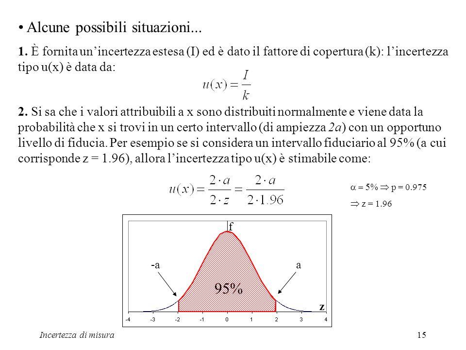 Incertezza di misura15 Alcune possibili situazioni... 1. È fornita unincertezza estesa (I) ed è dato il fattore di copertura (k): lincertezza tipo u(x