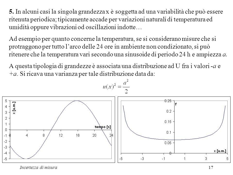 Incertezza di misura17 5. In alcuni casi la singola grandezza x è soggetta ad una variabilità che può essere ritenuta periodica; tipicamente accade pe