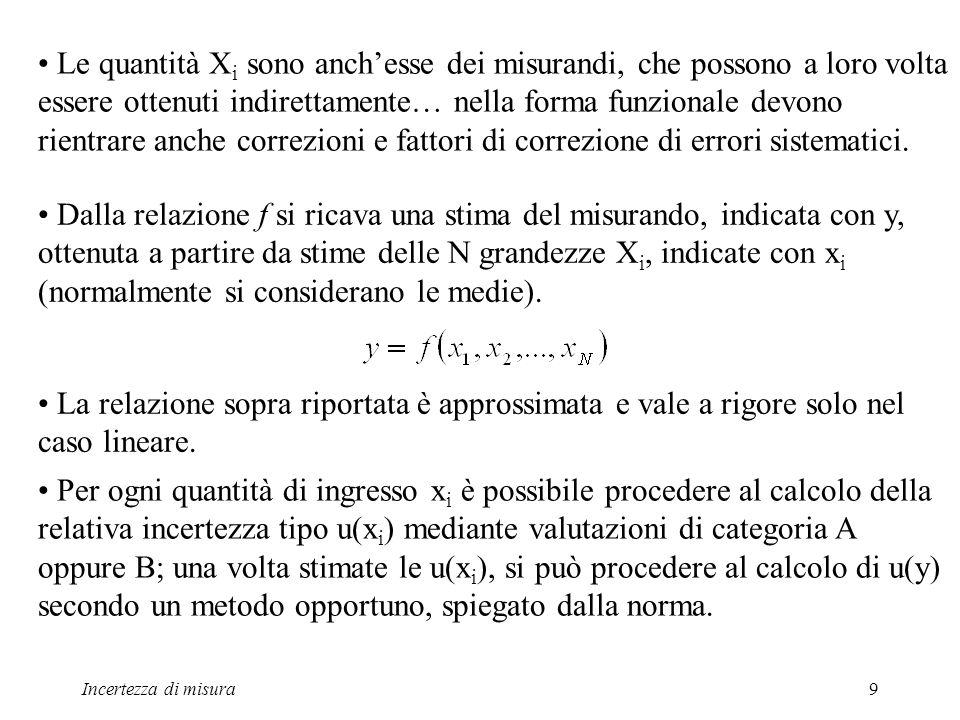 Incertezza di misura9 Le quantità X i sono anchesse dei misurandi, che possono a loro volta essere ottenuti indirettamente… nella forma funzionale dev