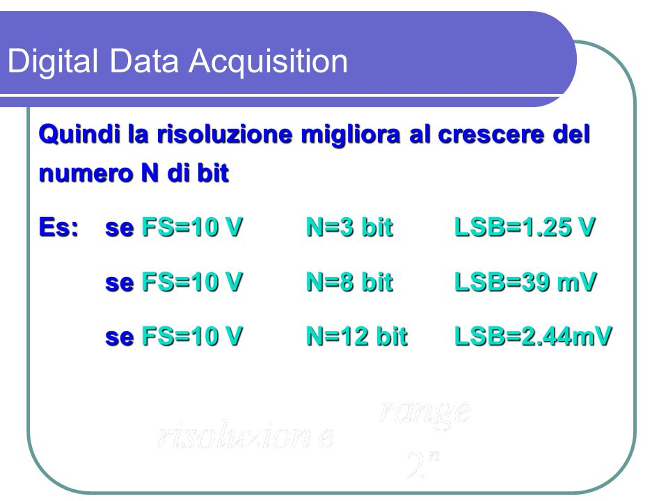 Esempio di segnale tra 0 e 10 V quantizzato con differente risoluzione Digital Data Acquisition