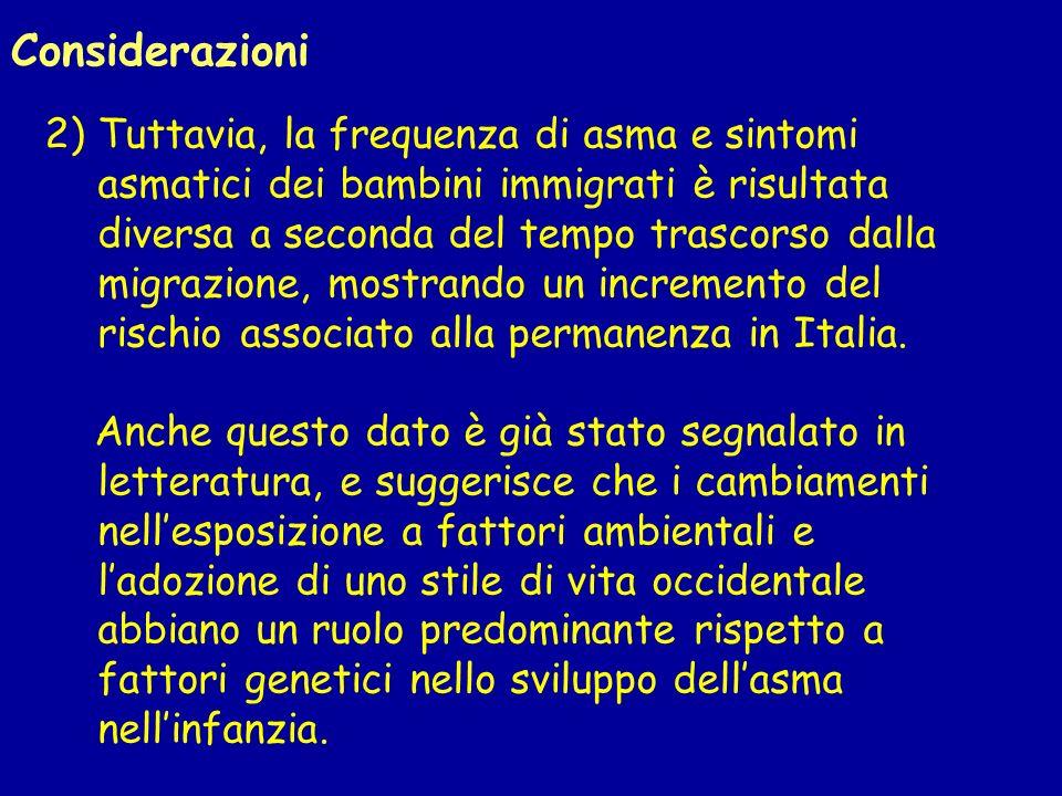 2) Tuttavia, la frequenza di asma e sintomi asmatici dei bambini immigrati è risultata diversa a seconda del tempo trascorso dalla migrazione, mostrando un incremento del rischio associato alla permanenza in Italia.