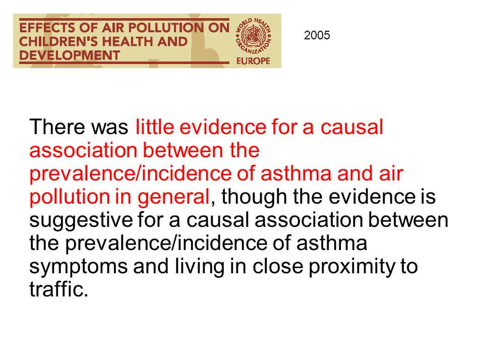 There was little evidence for a causal association between the prevalence/incidence of asthma and air pollution in general, though the evidence is sug
