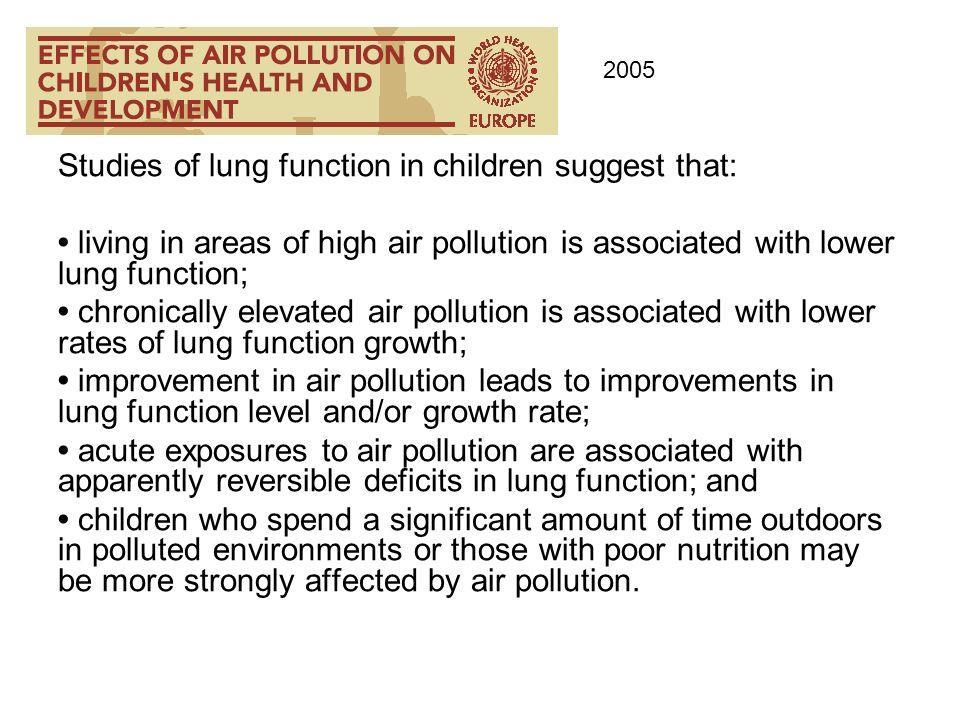 Studies of lung function in children suggest that: living in areas of high air pollution is associated with lower lung function; chronically elevated
