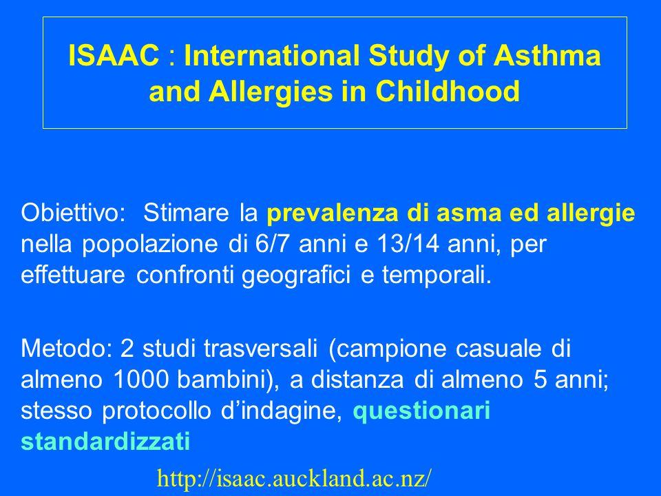 ISAAC : International Study of Asthma and Allergies in Childhood Obiettivo: Stimare la prevalenza di asma ed allergie nella popolazione di 6/7 anni e 13/14 anni, per effettuare confronti geografici e temporali.