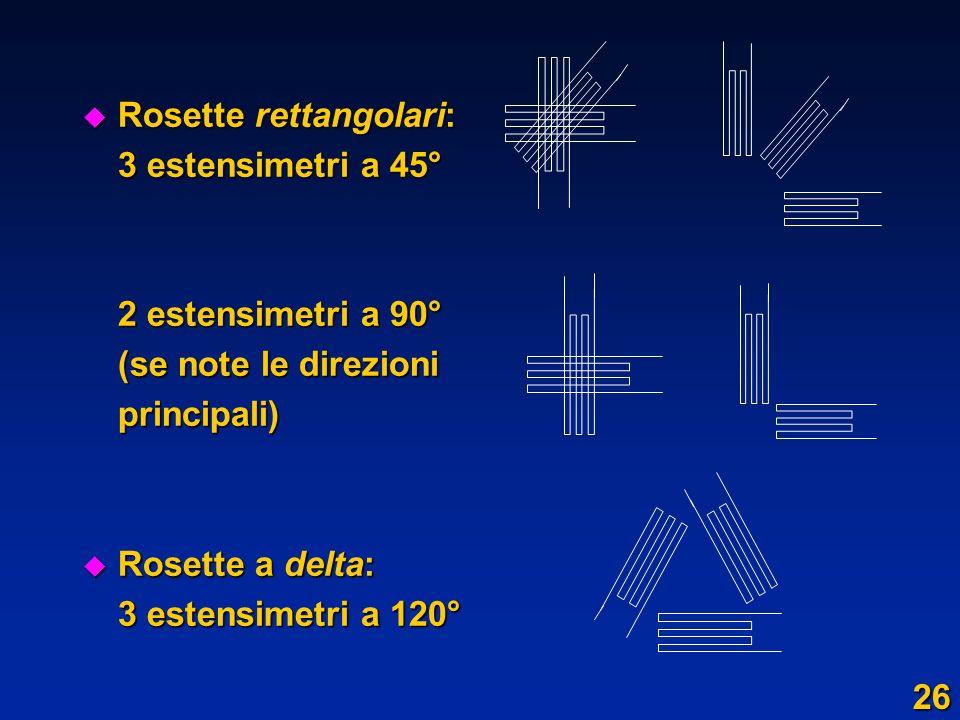 u Rosette rettangolari: 3 estensimetri a 45° 2 estensimetri a 90° (se note le direzioni (se note le direzioniprincipali) u Rosette a delta: 3 estensim