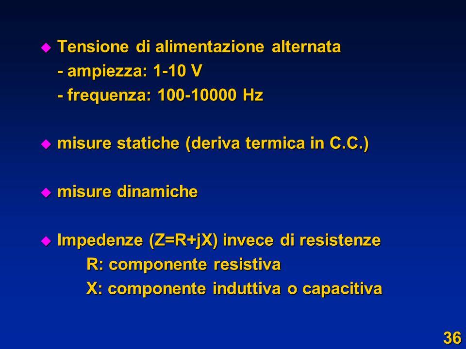 u Tensione di alimentazione alternata - ampiezza: 1-10 V - frequenza: 100-10000 Hz u misure statiche (deriva termica in C.C.) u misure dinamiche u Imp