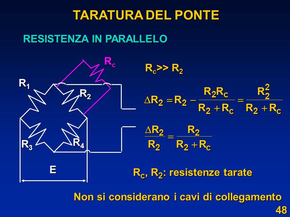 E R2R2R2R2 R3R3R3R3 R4R4R4R4 RcRcRcRc R1R1R1R1 TARATURA DEL PONTE RESISTENZA IN PARALLELO R c >> R 2 R c, R 2 : resistenze tarate Non si considerano i