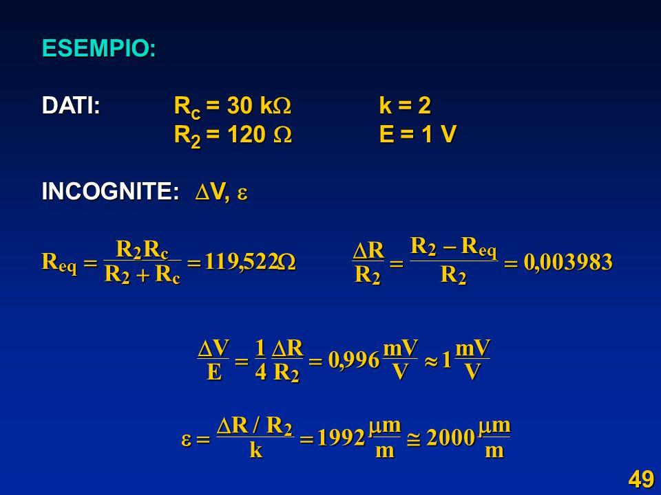 ESEMPIO: DATI: R c = 30 k k = 2 R 2 = 120 E = 1 V R 2 = 120 E = 1 V INCOGNITE: V, INCOGNITE: V, RRRRR eq c c 2 2 119522, R RRRR eq 2 2 2 0003983, VERR