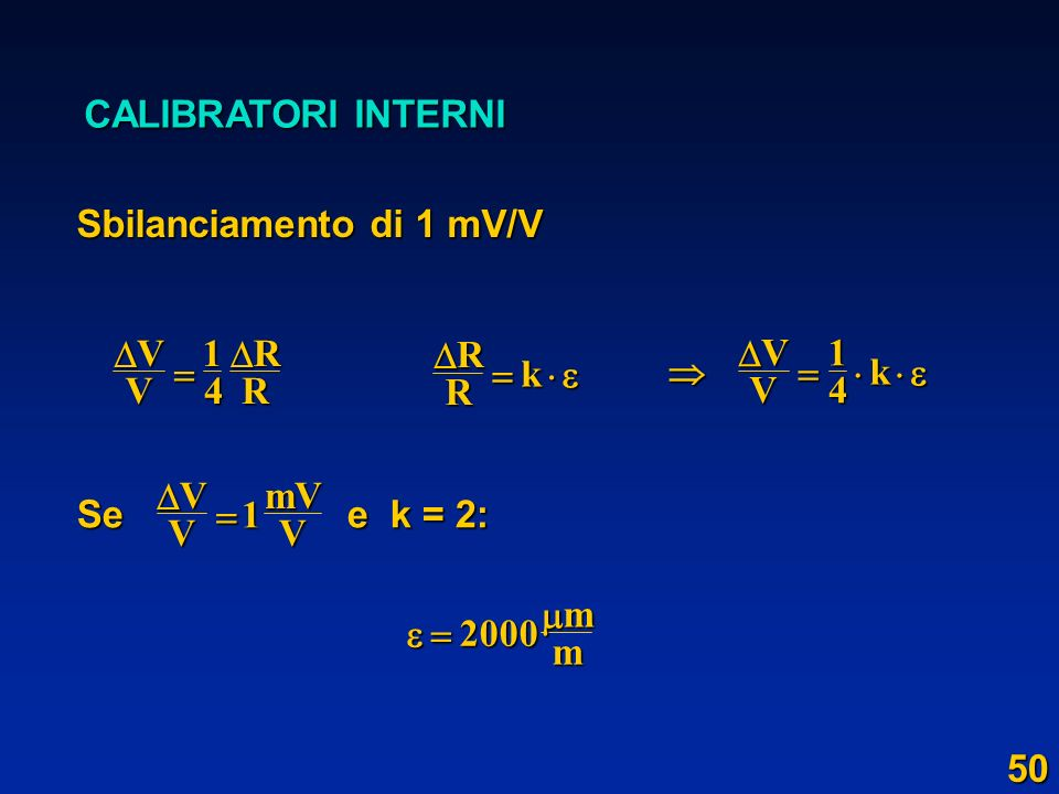 CALIBRATORI INTERNI Sbilanciamento di 1 mV/V VVRR 14 RR k VV k14 Se e k = 2: VVmVV 1 2000mm 50