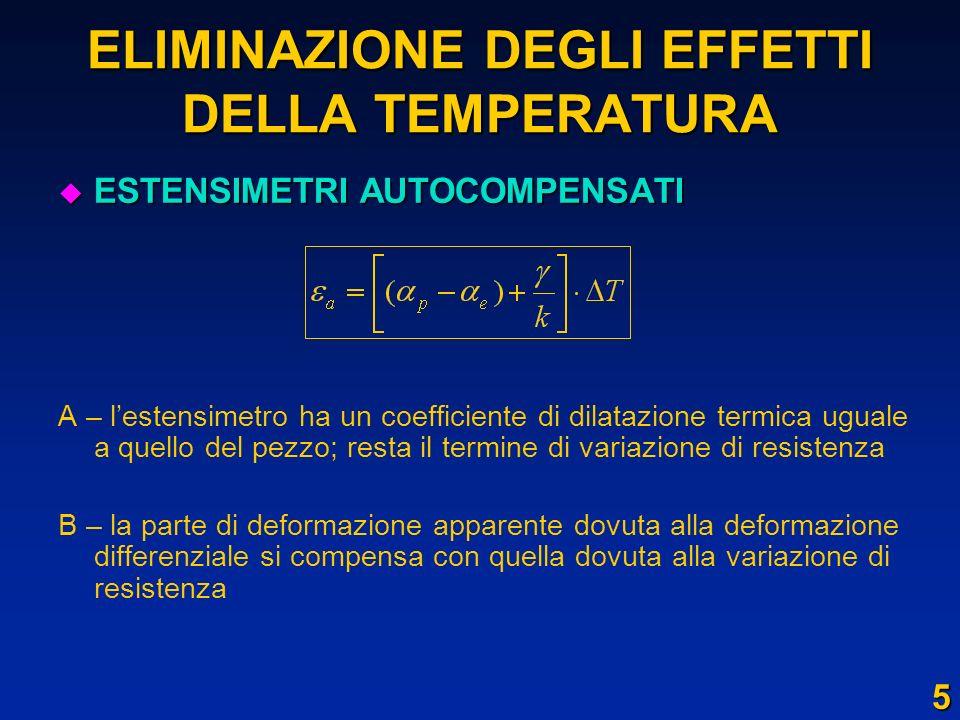 ELIMINAZIONE DEGLI EFFETTI DELLA TEMPERATURA u ESTENSIMETRI AUTOCOMPENSATI A – lestensimetro ha un coefficiente di dilatazione termica uguale a quello