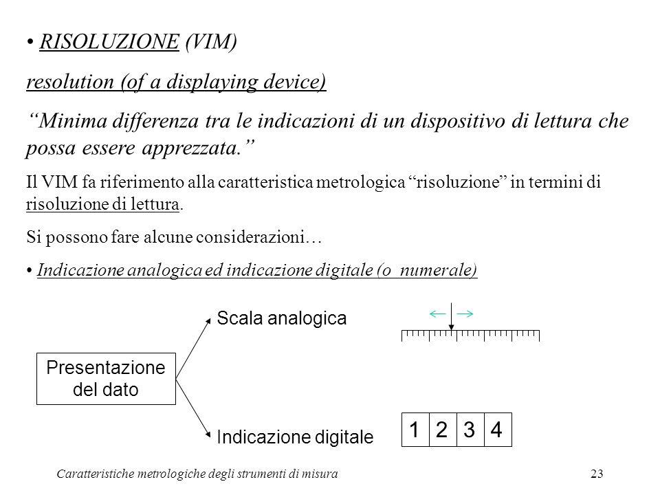 Caratteristiche metrologiche degli strumenti di misura23 RISOLUZIONE (VIM) resolution (of a displaying device) Minima differenza tra le indicazioni di