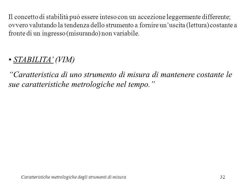 Caratteristiche metrologiche degli strumenti di misura32 Il concetto di stabilità può essere inteso con un accezione leggermente differente; ovvero va