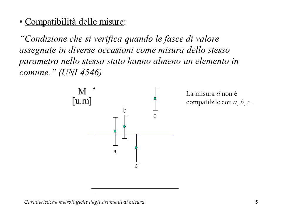 Caratteristiche metrologiche degli strumenti di misura5 Compatibilità delle misure: Condizione che si verifica quando le fasce di valore assegnate in