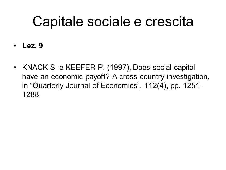 Capitale sociale e crescita Lez. 9 KNACK S. e KEEFER P.