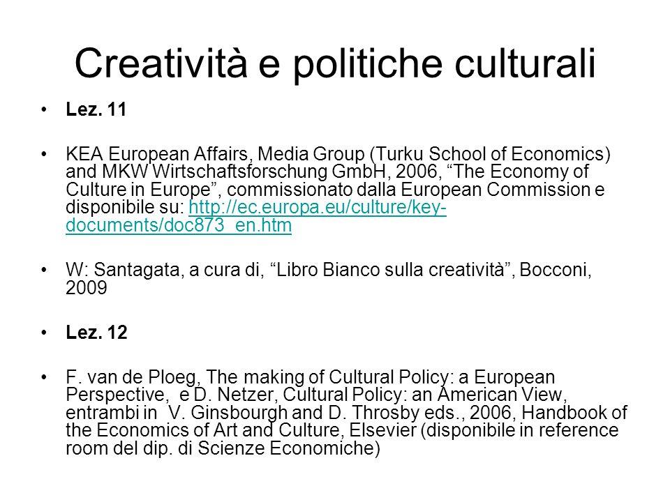 Creatività e politiche culturali Lez.