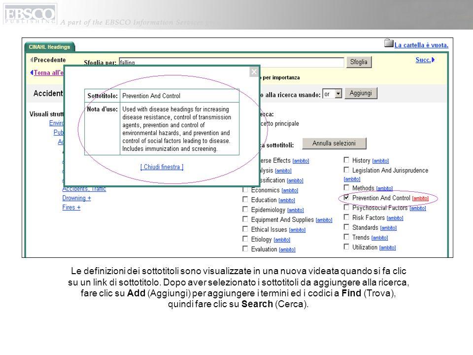 Le definizioni dei sottotitoli sono visualizzate in una nuova videata quando si fa clic su un link di sottotitolo. Dopo aver selezionato i sottotitoli