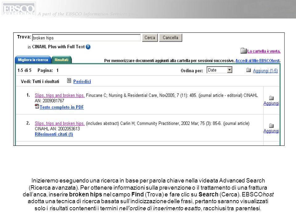 Inizieremo eseguendo una ricerca in base per parola chiave nella videata Advanced Search (Ricerca avanzata). Per ottenere informazioni sulla prevenzio
