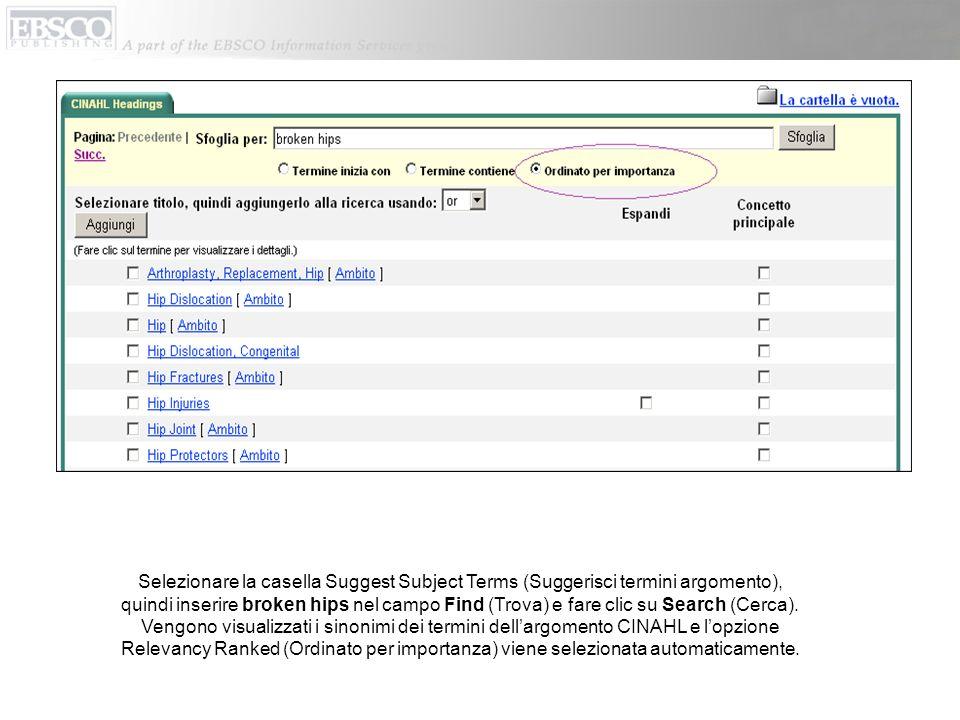 Selezionare la casella Suggest Subject Terms (Suggerisci termini argomento), quindi inserire broken hips nel campo Find (Trova) e fare clic su Search