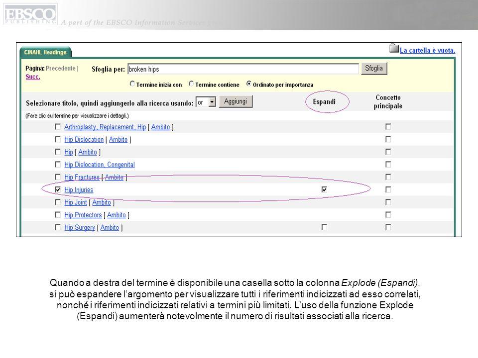 Per unanalisi più approfondita dei termini di ricerca, fare clic sul pulsante CINAHL Headings (Titoli CINAHL) disponibile nella barra degli strumenti secondaria.