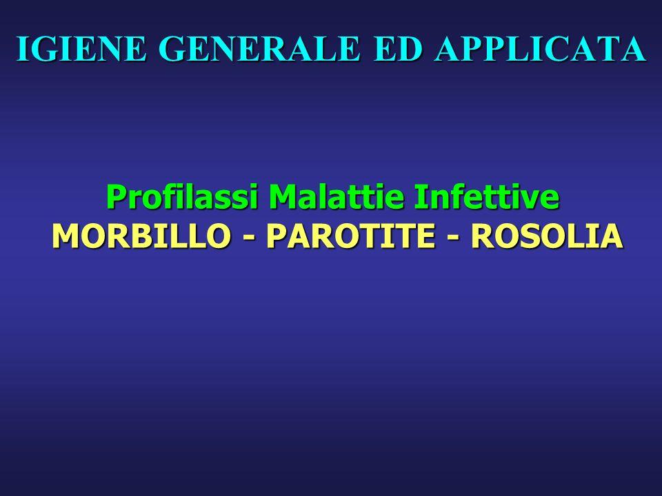 IGIENE GENERALE ED APPLICATA Profilassi Malattie Infettive MORBILLO - PAROTITE - ROSOLIA