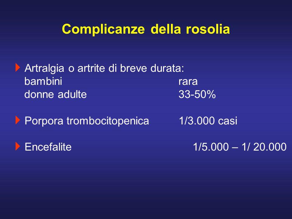 Artralgia o artrite di breve durata: bambinirara donne adulte33-50% Porpora trombocitopenica1/3.000 casi Encefalite1/5.000 – 1/ 20.000 Complicanze del