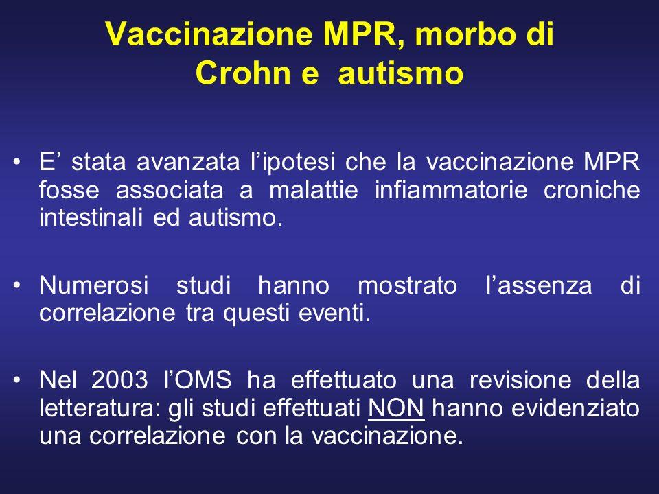 Vaccinazione MPR, morbo di Crohn e autismo E stata avanzata lipotesi che la vaccinazione MPR fosse associata a malattie infiammatorie croniche intesti