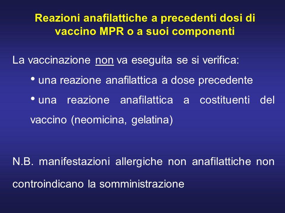 Reazioni anafilattiche a precedenti dosi di vaccino MPR o a suoi componenti La vaccinazione non va eseguita se si verifica: una reazione anafilattica