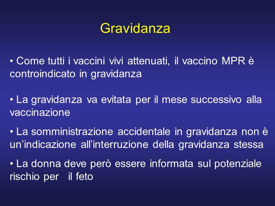 Gravidanza Come tutti i vaccini vivi attenuati, il vaccino MPR è controindicato in gravidanza La gravidanza va evitata per il mese successivo alla vac