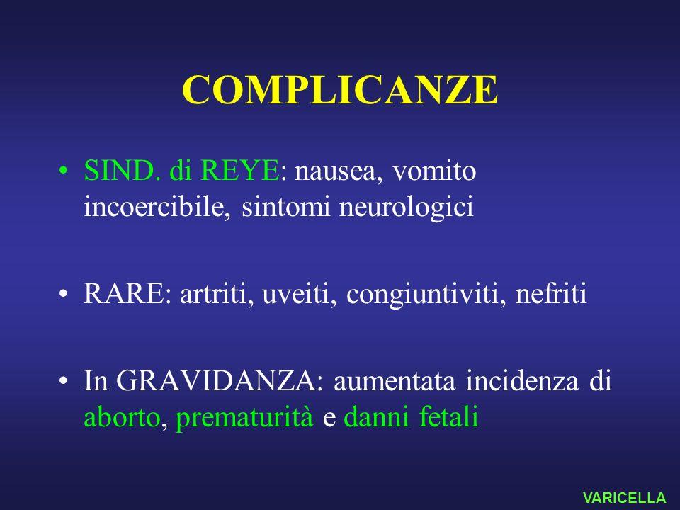 COMPLICANZE SIND. di REYE: nausea, vomito incoercibile, sintomi neurologici RARE: artriti, uveiti, congiuntiviti, nefriti In GRAVIDANZA: aumentata inc