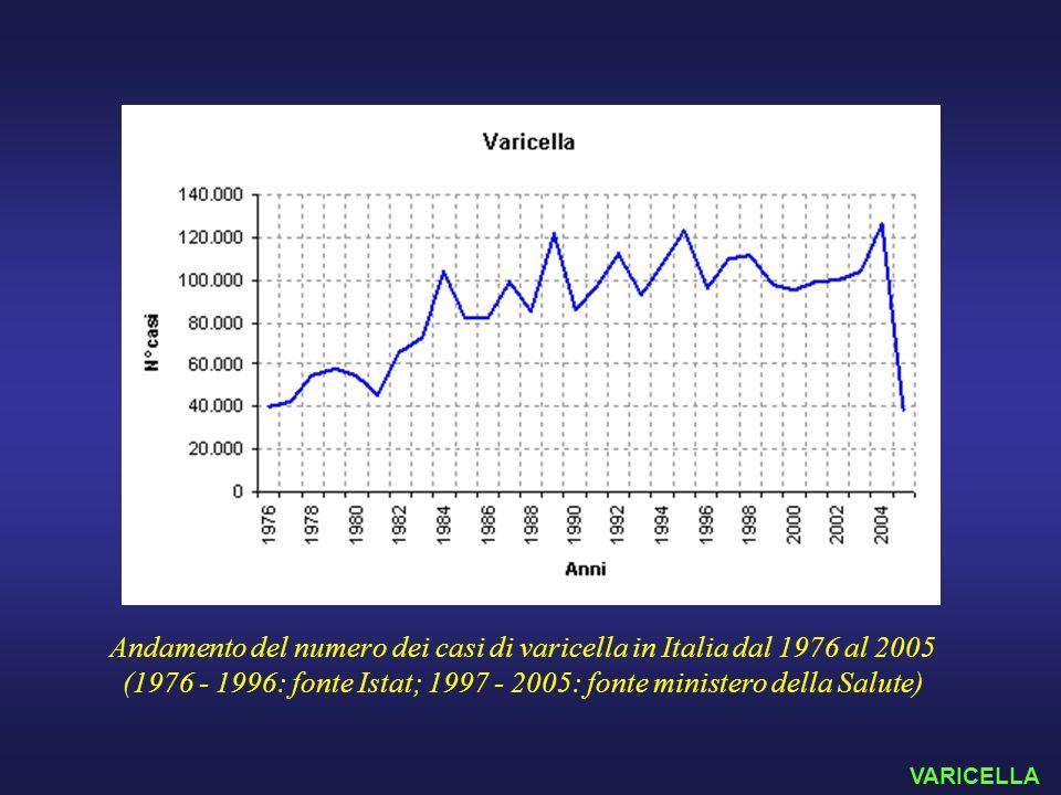 Andamento del numero dei casi di varicella in Italia dal 1976 al 2005 (1976 - 1996: fonte Istat; 1997 - 2005: fonte ministero della Salute) VARICELLA