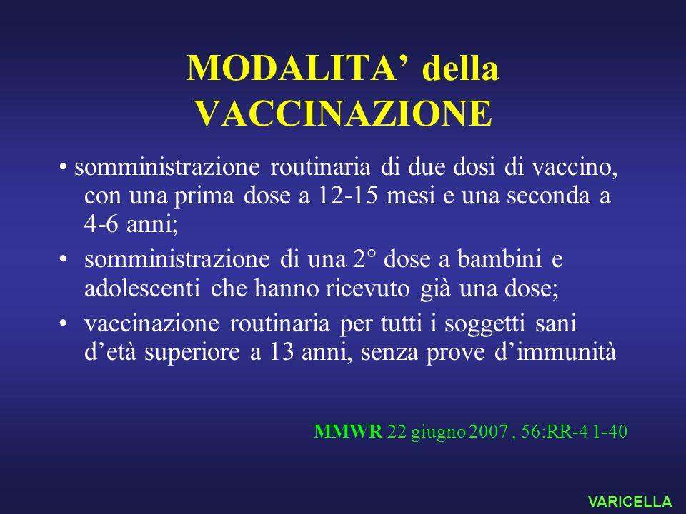 MODALITA della VACCINAZIONE somministrazione routinaria di due dosi di vaccino, con una prima dose a 12-15 mesi e una seconda a 4-6 anni; somministraz