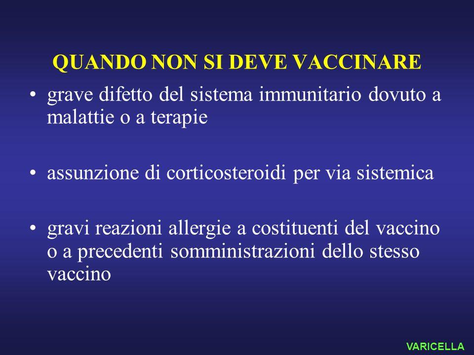 QUANDO NON SI DEVE VACCINARE grave difetto del sistema immunitario dovuto a malattie o a terapie assunzione di corticosteroidi per via sistemica gravi