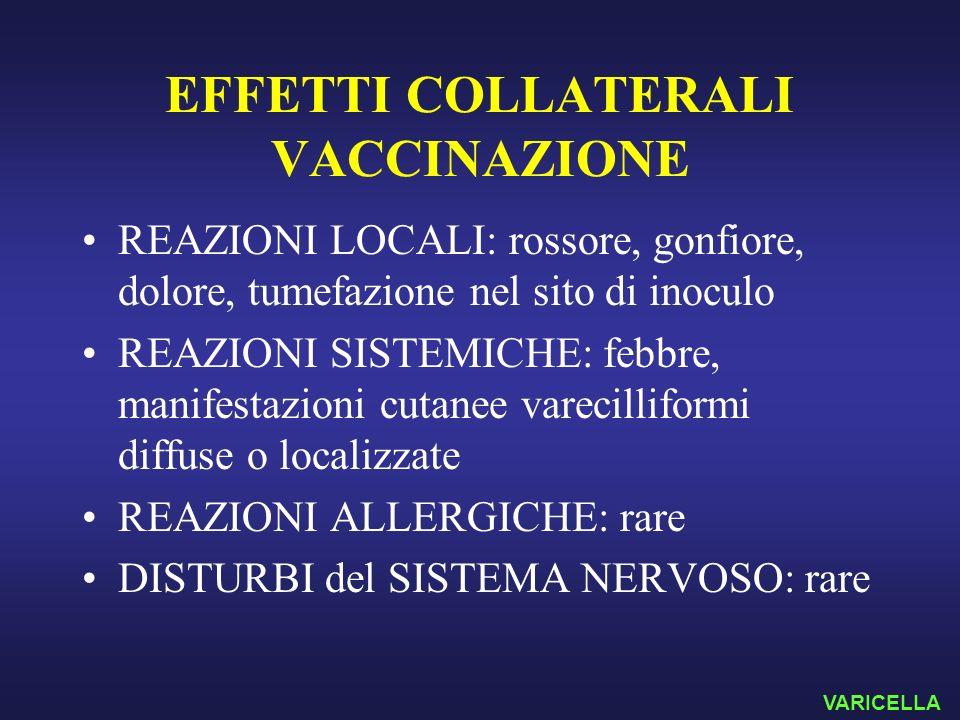 EFFETTI COLLATERALI VACCINAZIONE REAZIONI LOCALI: rossore, gonfiore, dolore, tumefazione nel sito di inoculo REAZIONI SISTEMICHE: febbre, manifestazio