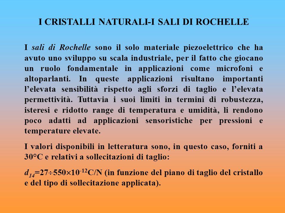 I CRISTALLI NATURALI-I SALI DI ROCHELLE I sali di Rochelle sono il solo materiale piezoelettrico che ha avuto uno sviluppo su scala industriale, per i