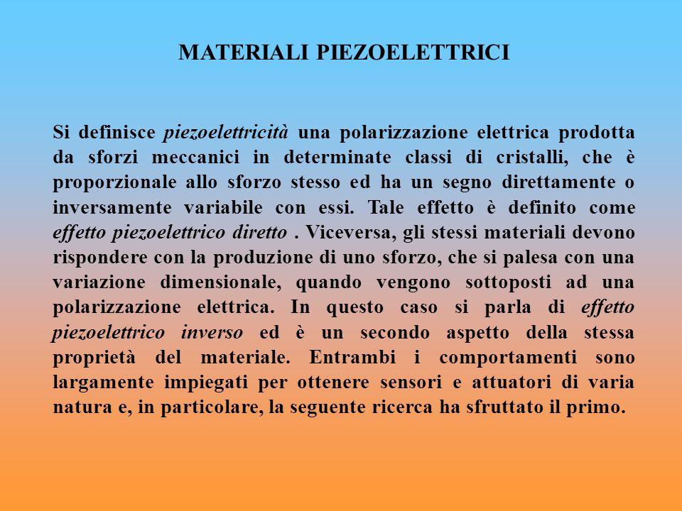 MATERIALI PIEZOELETTRICI Si definisce piezoelettricità una polarizzazione elettrica prodotta da sforzi meccanici in determinate classi di cristalli, c