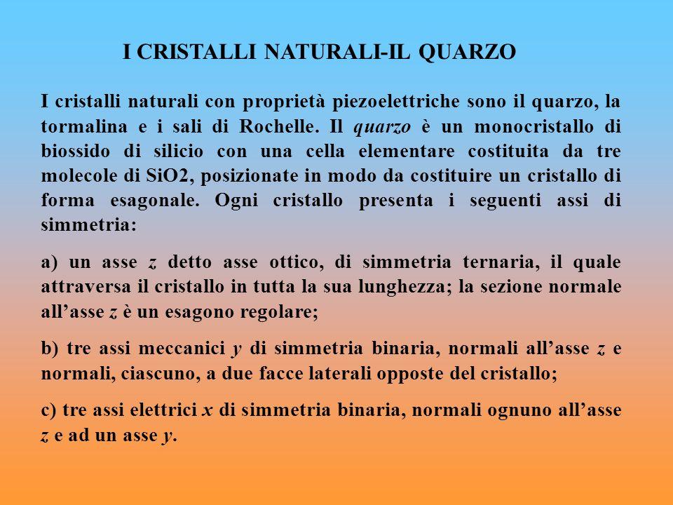 I CRISTALLI NATURALI-IL QUARZO I cristalli naturali con proprietà piezoelettriche sono il quarzo, la tormalina e i sali di Rochelle. Il quarzo è un mo